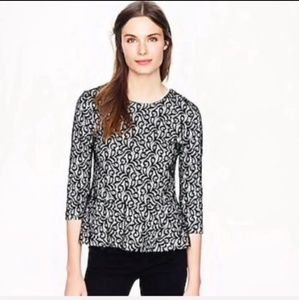 J.Crew Black Lace Peplum Blouse